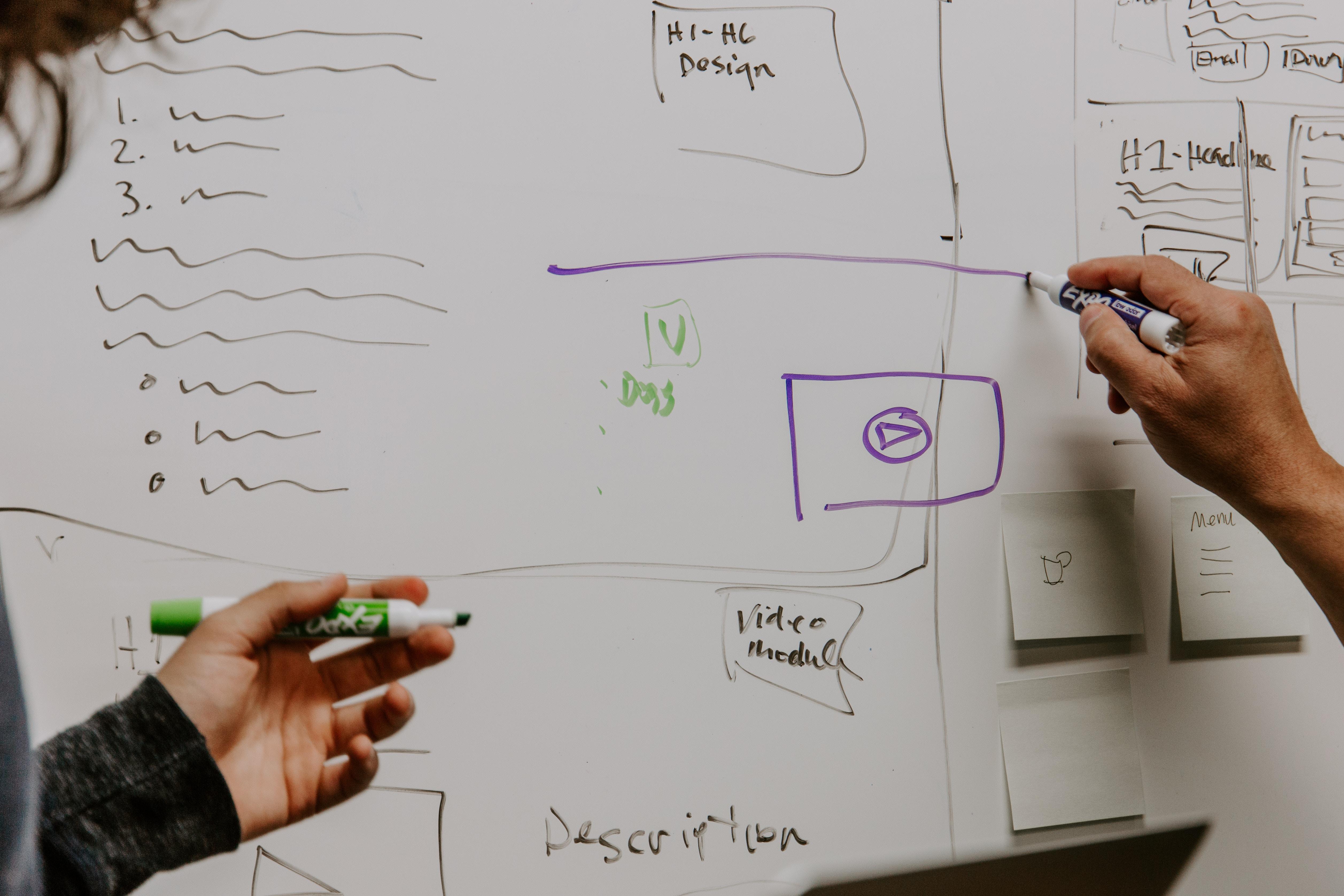 notes et schémas sur tableau blanc