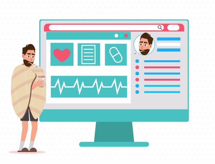 Illustration ordinateur avec profil médical